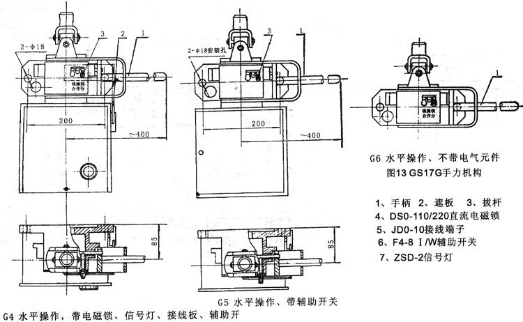 9、传动箱部分见图11 传动箱部分的结构见图11(a)、(b)、(c),其中a供不接地用,(b)供单接地用,(c)供双接用,但GW5-35、60/630、1000型当采用90传动(即不带电磁锁)时隔离开关与接地刀的连锁是靠所配操动机构上的锁板来实现的。 传动箱中的项6臂用以连接隔离开关的传动拉杆,项3连轴套用以连动操动机构主轴,图示位置为隔离开关处于分闸而接地闸刀处于准备位置。当操动隔离开关主闸刀的操动机构转动180之后,连动隔离开关主闸刀完成合闸动作,此时项12锁板上的缺口亦随之转开,接地闸刀合